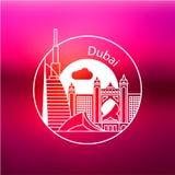 迪拜 阿拉伯联合酋长国,详细的剪影 时髦传染媒介例证 皇族释放例证