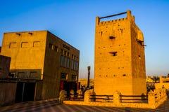 迪拜Al Shandagah手表塔额骨 图库摄影