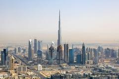 迪拜Burj哈利法街市鸟瞰图摄影 库存图片