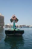 迪拜Creek Abra新小船的视图 免版税库存图片