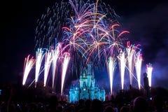 迪斯尼世界城堡烟花 免版税库存照片