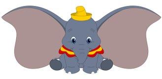 迪斯尼Dumbo的传染媒介例证在白色背景,与大耳朵的婴孩大象,幻想卡通人物隔绝了