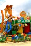 迪斯尼pixar玩具故事木质在迪斯尼乐园香港 免版税库存图片