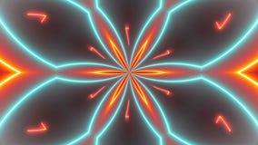 迪斯科与发光的霓虹五颜六色的线和几何形状的万花筒背景 库存例证