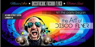 迪斯科夜总会与DJ形状的飞行物布局 免版税库存图片