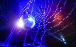 迪斯科球在现代迪斯科聚会夜总会的激光展示 库存图片