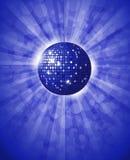 迪斯科球蓝色背景 免版税库存照片