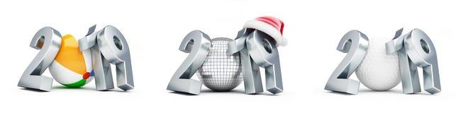 迪斯科球,高尔夫球,海滩球新年圣诞老人帽子2019在一个白色背景3D例证,3D设置了翻译 库存例证