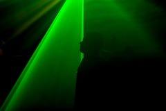 迪斯科绿色激光 库存照片