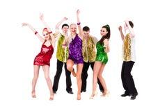 迪斯科舞蹈家队跳舞 库存图片