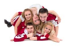 迪斯科舞蹈家队跳舞,隔绝在全长的白色 免版税库存图片