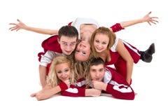 迪斯科舞蹈家队跳舞,隔绝在全长的白色 免版税图库摄影