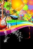 迪斯科活动热带传单的音乐 免版税图库摄影