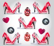 迷人无缝patern 红色专利鞋子,心脏,金刚石,红宝石,珍珠项链 向量例证