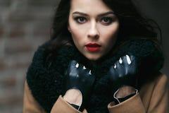 迷人的在外套的时尚女性modell 免版税库存图片