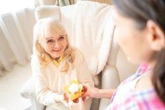 迷人的女儿给与蜡烛的小生日杯形蛋糕她的资深母亲 免版税库存照片