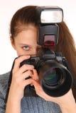 迷人的女孩摄影师 库存图片