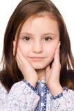 迷人的女孩查出少许纵向 免版税库存照片
