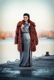 迷人的深色的夫人的画象在昂贵的皮大衣观看的河 免版税库存照片