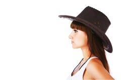 迷人的牛仔女孩帽子 免版税库存图片