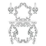 迷人的美妙的巴洛克式的洛可可式的嵌墙桌子和镜子框架集合 库存图片