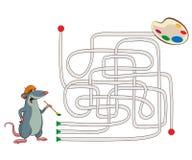 迷宫。老鼠艺术家的例证 库存照片