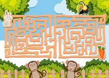 迷宫与野生动物的比赛模板 库存例证
