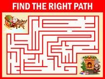迷宫圣诞老人比赛寻找他们的道路对壁炉 皇族释放例证