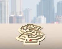 迷宫在金钱形状箱子的局面 库存图片