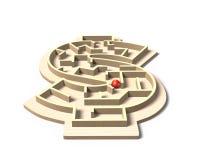迷宫在金钱形状箱子, 3D的局面例证 免版税库存图片