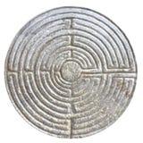 迷宫在11t的罗马式教会的门面雕刻了 免版税库存图片