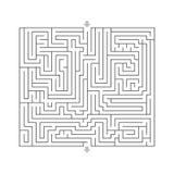 迷宫坚硬设计难题与指定输入和输出白色 库存照片