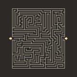 迷宫坚硬设计难题与指定输入和输出黑暗 免版税库存图片