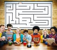 迷宫战略成功解答决心方向概念 免版税库存照片