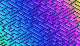 迷宫样式与充满活力的迷宫的摘要背景海报或墙纸的 向量例证