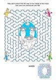 迷宫比赛和着色页-银莲花属和鱼 免版税库存照片