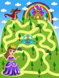 迷宫比赛孩子Castle Red Dragon公主 免版税库存照片