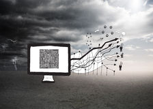 迷宫的综合图象在屏幕上的有箭头的乱画 库存图片