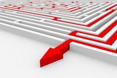 迷宫路径红色正确的方式 免版税库存照片