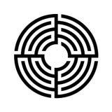 迷宫,圆的迷宫象 平的设计 储蓄传染媒介 免版税库存照片
