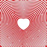 迷宫 向心脏的道路 红色上升了 爱的符号 免版税库存照片