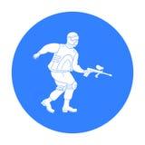 迷彩漆弹运动在白色背景在概述样式的球员象隔绝的 迷彩漆弹运动标志股票传染媒介例证 免版税图库摄影