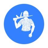 迷彩漆弹运动在白色背景在概述样式的球员象隔绝的 迷彩漆弹运动标志股票传染媒介例证 库存图片