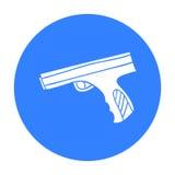 迷彩漆弹运动手在白色背景在概述样式的枪象隔绝的 迷彩漆弹运动标志股票传染媒介例证 免版税图库摄影