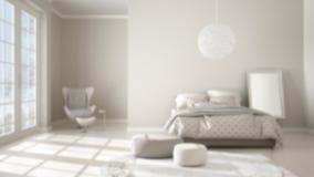 迷离背景室内设计、舒适的现代卧室有木镶花地板的,全景窗口、地毯、扶手椅子和床 皇族释放例证