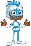 迷茫白和蓝色的超级英雄- 免版税库存图片