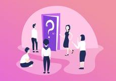 迷茫的商人队想法的门问号什么是下种方向概念配合问题解答 库存例证