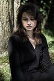 年轻追悼的妇女画象  免版税库存图片