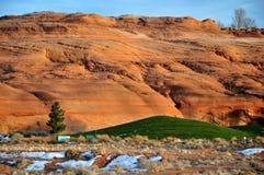 追猎goft湖国家超出powell多雪的日落 免版税图库摄影