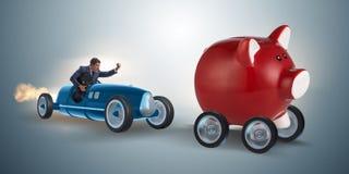 追逐在企业概念的人piggybank 免版税库存图片